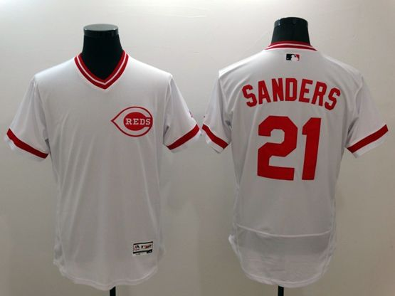 mens majestic cincinnati reds #21 sanders white Flex Base jersey