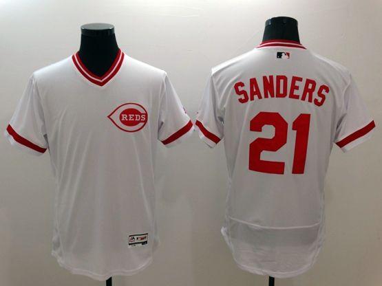 Mens Majestic Cincinnati Reds #21 Sanders White Flexbase Collection Jersey