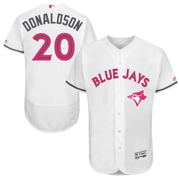 Mens Majestic Toronto Blue Jays #20 Josh Donaldson White 2016 Mother's Day Flex Base Jersey