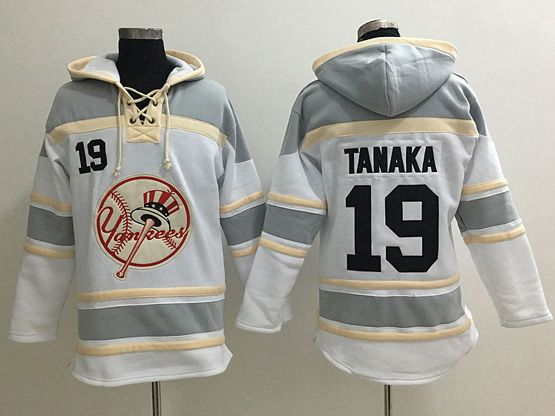 Mens Mlb New York Yankees #19 Masahiro Tanaka White&gray Team Hoodie Jersey