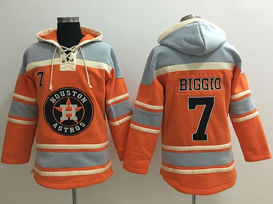 Mens Mlb Houston Astros #7 Craig Biggio Orange Team Hoodie Jersey