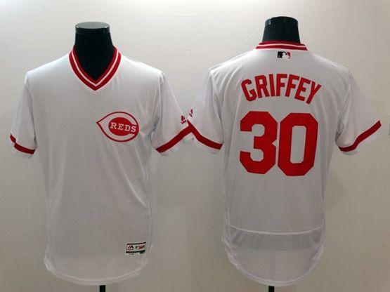 Mens Majestic Cincinnati Reds #30 Ken Grifrfey Jr White Pullover Flexbase Jersey