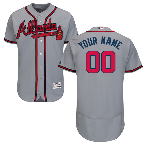 Mens Majestic Atlanta Braves Gray Flex Base Jersey