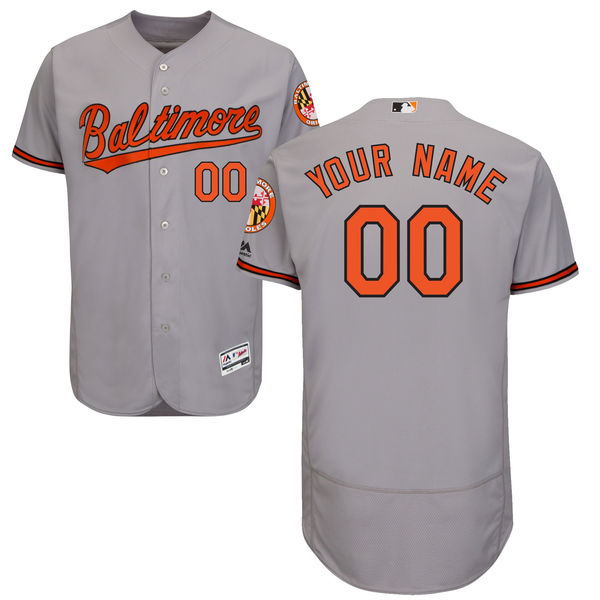 Mens Majestic Baltimore Orioles Gray Flex Base Jersey