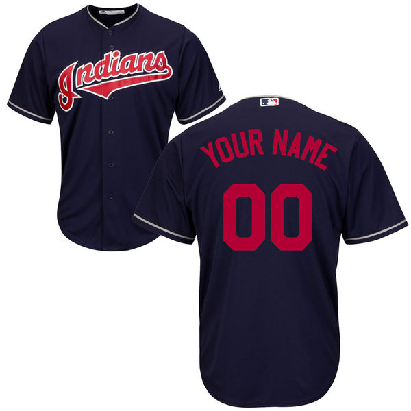 Mens Majestic Cleveland Indians Navy Blue Cool Base Jersey