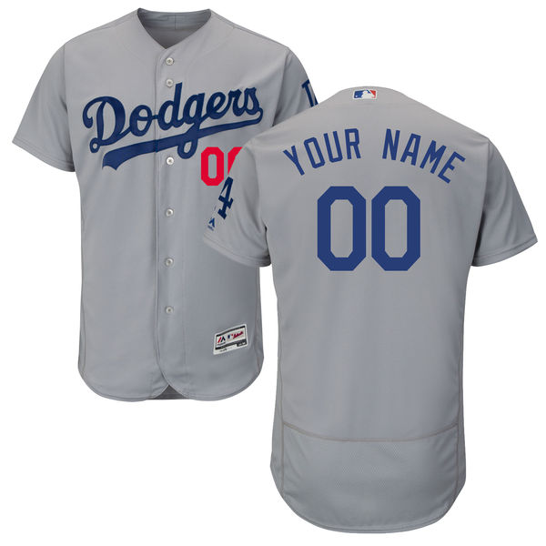 Mens Majestic Los Angeles Dodgers Gray Flex Base Jersey
