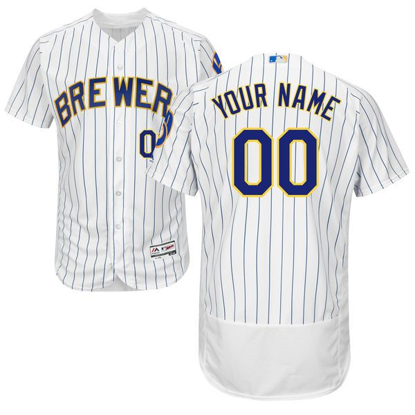 Mens Majestic Milwaukee Brewers White Stripe Flex Base Jersey