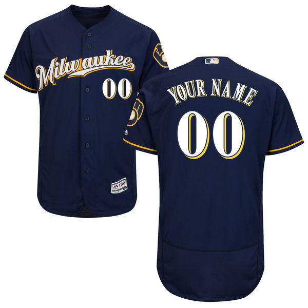 Mens Majestic Milwaukee Brewers Custom Made Navy Blue Alternate Road Flex Base Jersey