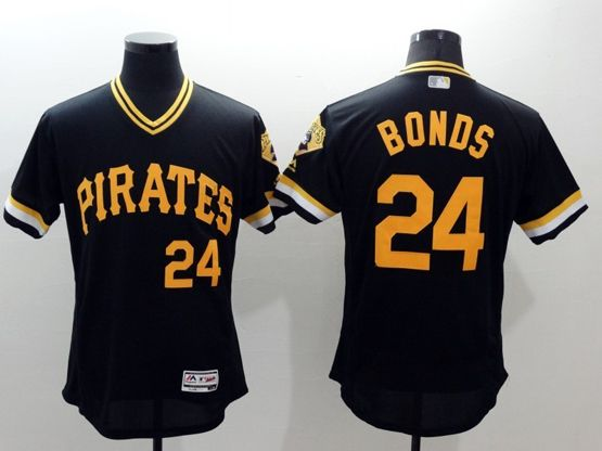mens majestic pittsburgh pirates #24 barry bonds black Flex Base jersey