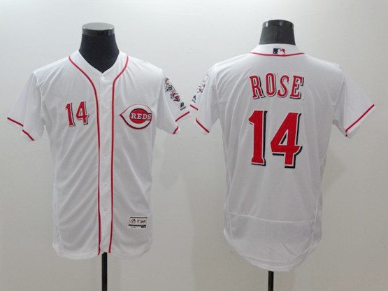 mens majestic cincinnati reds #14 pete rose white Flex Base jersey