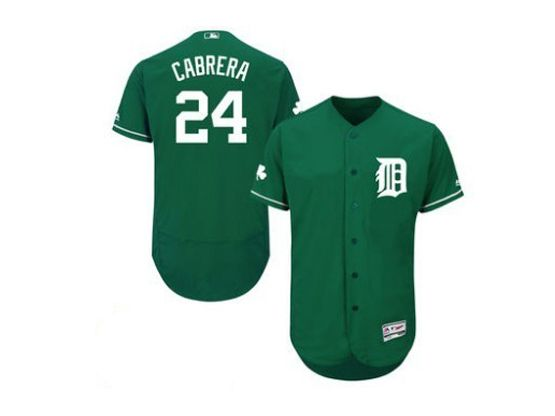 mens majestic detroit tigers #24 miguel cabrera green Flex Base jersey