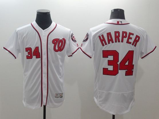 Mens Majestic Washington Nationals #34 Bryce Harper White Flexbase Collection Jersey
