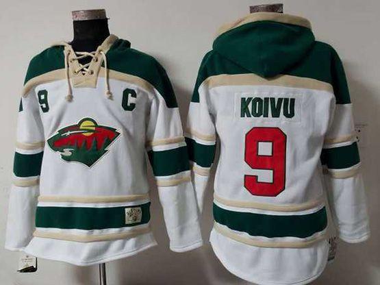 Mens Reebok Nhl Minnesota Wild #9 Mikko Koivu White Team Hoodie Jersey