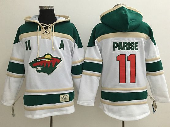 Mens Reebok Nhl Minnesota Wild #11 Zach Parise White Team Hoodie Jersey