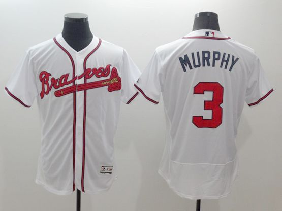 mens majestic atlanta braves #3 dale murphy white Flex Base jersey