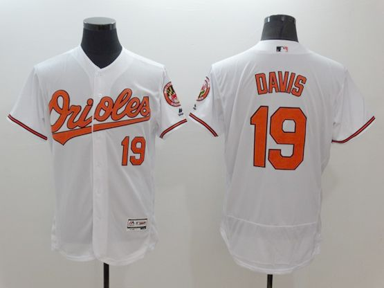 mens majestic baltimore orioles #19 chris davis white Flex Base jersey