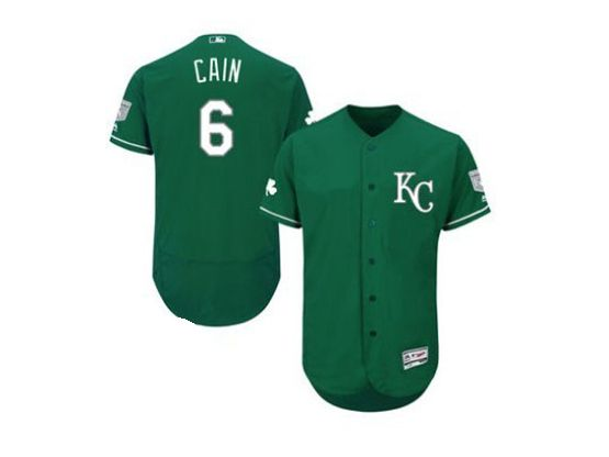mens majestic kansas city royals #6 lorenzo cain green Flex Base jersey