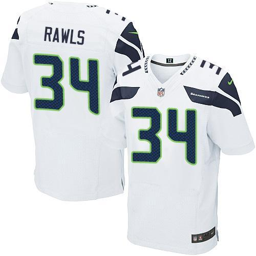 Mens Nfl Seattle Seahawks #34 Thomas Rawls White Elite Jersey