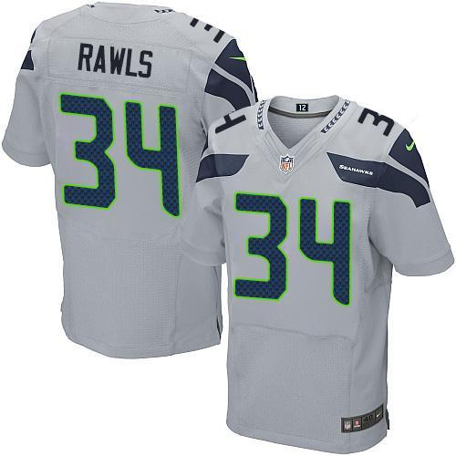 Mens Nfl Seattle Seahawks #34 Thomas Rawls Gray Elite Jersey