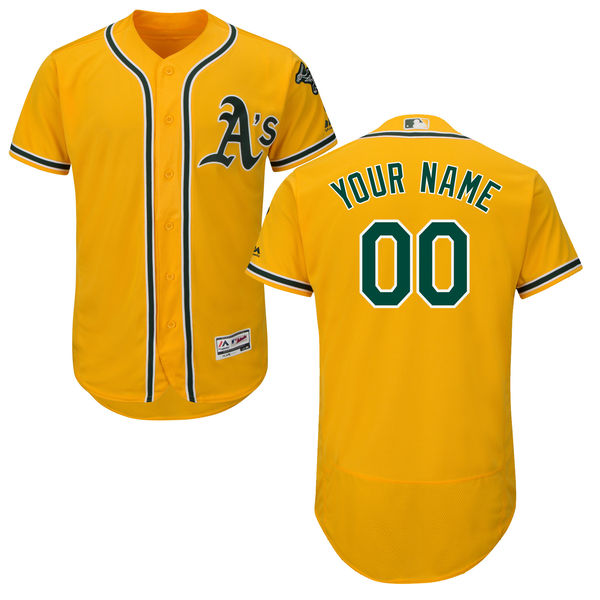 Mens Majestic Oakland Athletics Gold Flex Base Jersey