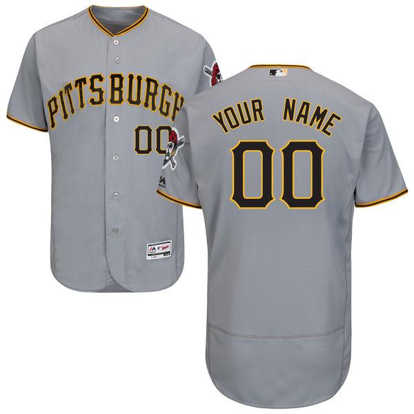 Mens Majestic Pittsburgh Pirates Gray Flexbase Jersey