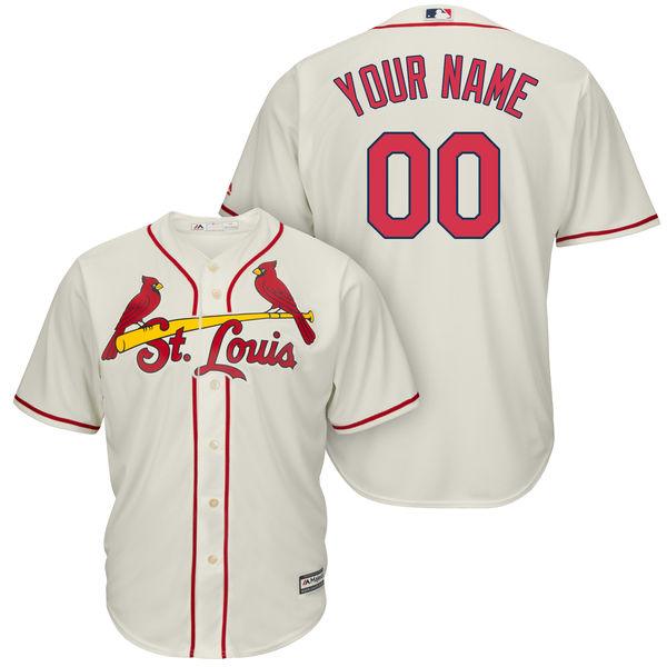 Mens Majestic St. Louis Cardinals Cream Cool Base Jersey