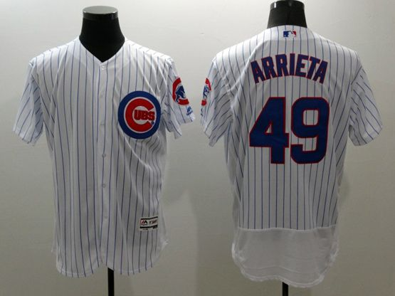 mens majestic chicago cubs #49 jake arrieta white stripe Flex Base jersey
