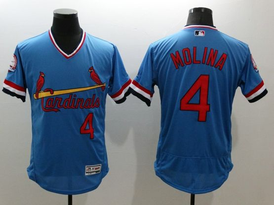 mens majestic st.louis cardinals #4 yadier molina blue Flex Base jersey