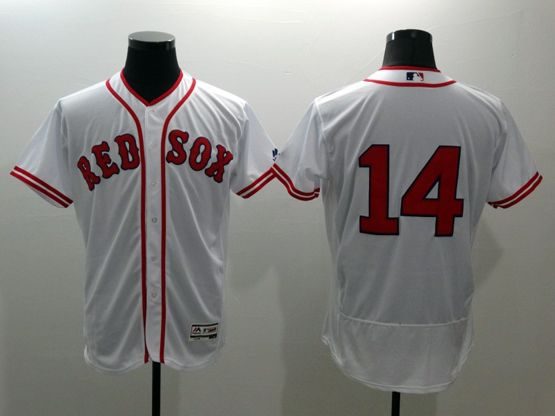 mens majestic boston red sox #14 jim rice white Flex Base jersey