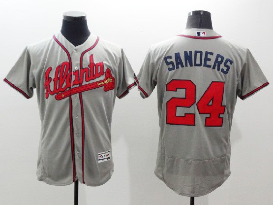 mens majestic atlanta braves #24 deion sanders gray Flex Base jersey