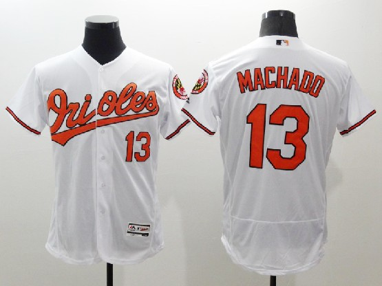 Mens Majestic Baltimore Orioles #13 Manny Machado White Flexbase Collection Jersey