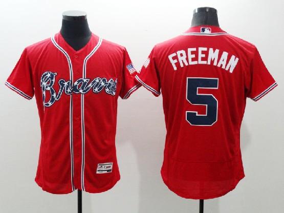 mens majestic atlanta braves #5 freddie freeman red Flex Base jersey