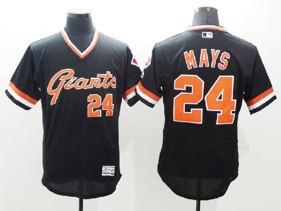 Mens Majestic Mlb San Francisco Giants #24 Willie Mays Black Throwbacks Jersey