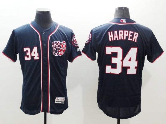 mens majestic washington nationals #34 bryce harper navy blue Flex Base jersey