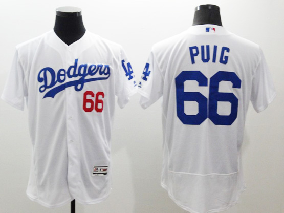 Mens Majestic Los Angeles Dodgers #66 Yasiel Puig White Flexbase Collection Jersey