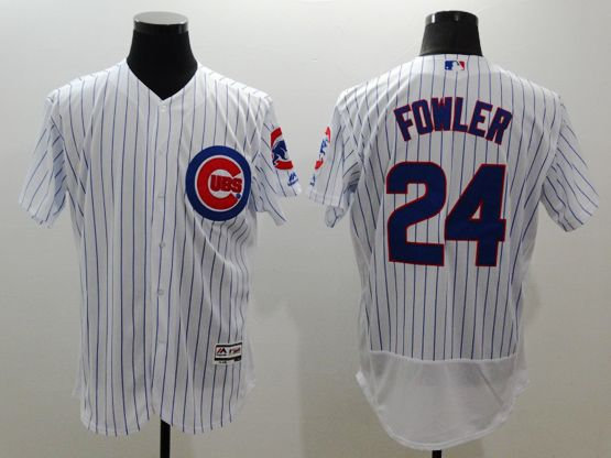 Mens Majestic Chicago Cubs #24 Dexter Fowler White Stripe Flexbase Collection Jersey