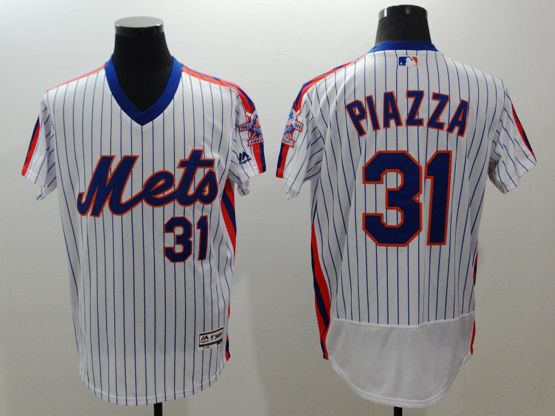 Mens Majestic New York Mets #31 Mike Piazza White Stripe Pullover Flexbase Jersey