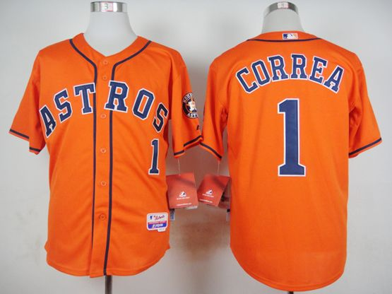 Mens Mlb Houston Astros #1 Carlos Correa Orange Jersey