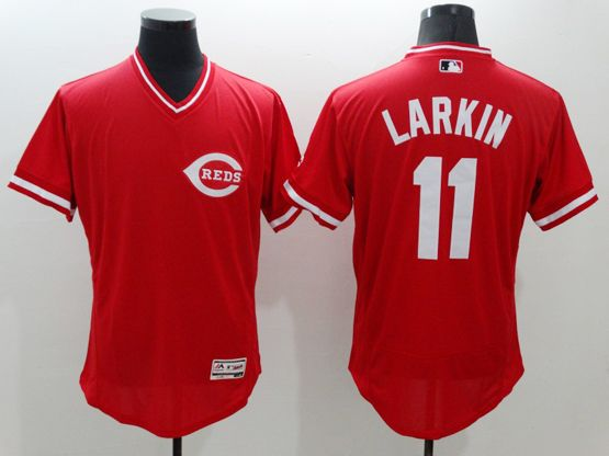 mens majestic cincinnati reds #11 barry larkin red Flex Base jersey