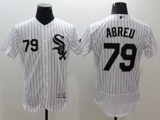 mens majestic chicago white sox #79 jose abreu white stripe Flex Base jersey