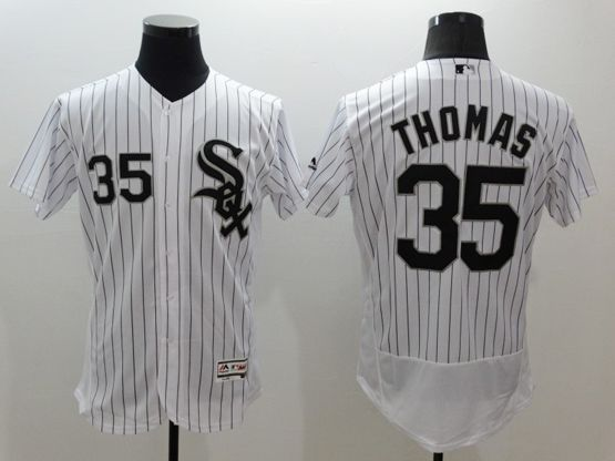 mens majestic chicago white sox #35 frank thomas white stripe Flex Base jersey