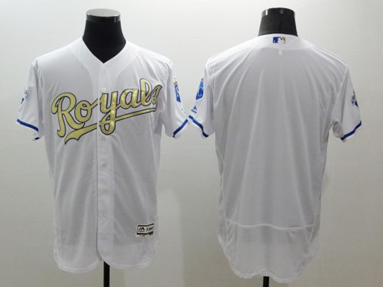 mens majestic kansas city royals blank white gold program Flex Base jersey