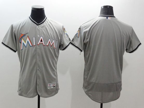 Mens Majestic Miami Marlins Blank Gray Flexbase Collection Jersey