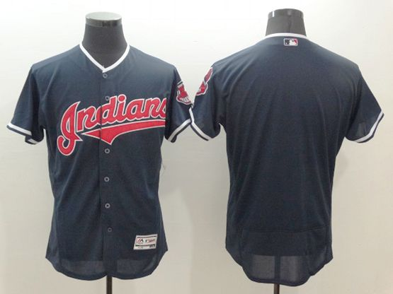 mens majestic cleveland indians blank navy blue Flex Base jersey