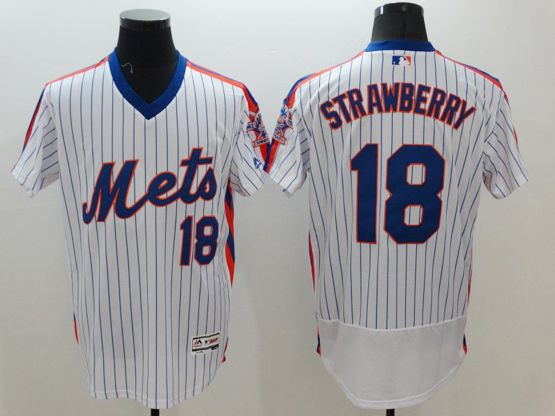 mens majestic new york mets #18 darryl strawberry white stripe pullover Flex Base jersey