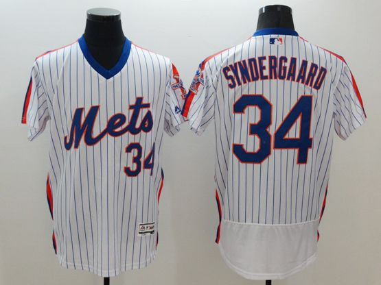 mens majestic new york mets #34 noah syndergaard white stripe pullover Flex Base jersey
