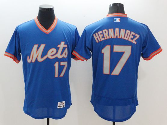 Mens Majestic New York Mets #17 Keith Hernandez Blue Pullover Flexbase Jersey