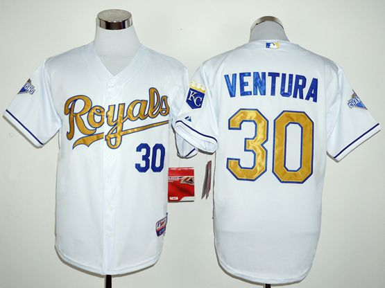 Mens Majestic Kansas City Royals #30 Yordano Ventura White Gold Program Cool Base Jersey