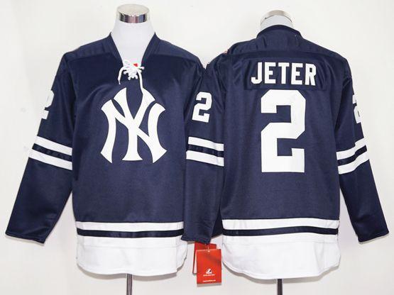 Mens Majestic New York Yankees #2 Derek Jeter Blue Long Sleeve Jersey