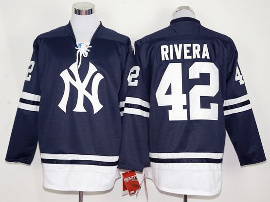 Mens Majestic New York Yankees #42 Mariano Rivera Blue Long Sleeve Jersey